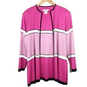 Exclusively Misook Pink Striped Open Cardigan